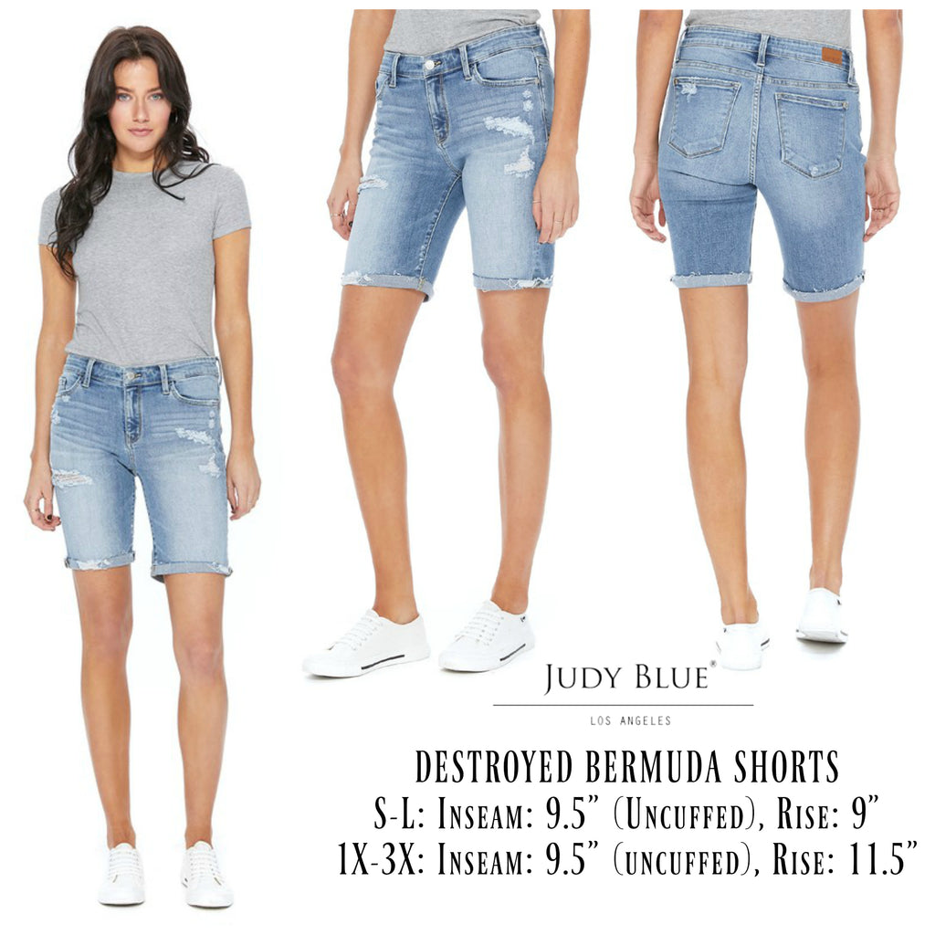 Judy Blue Destroyed Bermuda Shorts - Regular & Curvy