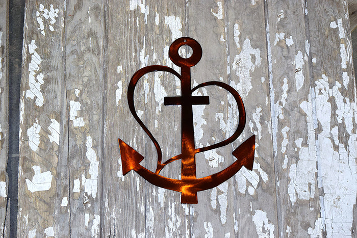 Anchor Heart Cross Metal Art