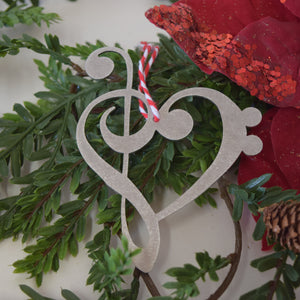 Bass Clef Heart Christmas Ornament