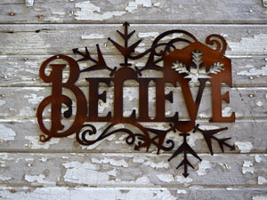Believe Snowflake Metal Art