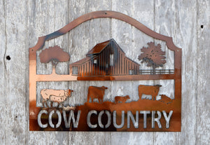 Cow Country Metal Art