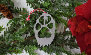 Dog Paw Furry Christmas Ornament
