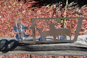 double deer rain gauge holder made from stainless steel and features both a buck and a doe