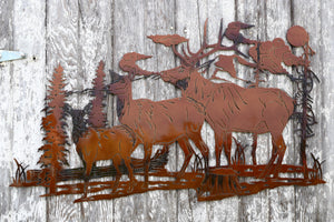 Elk Family Scene Metal Art