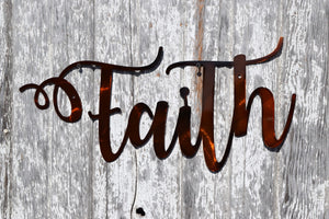 Faith Script Metal Art