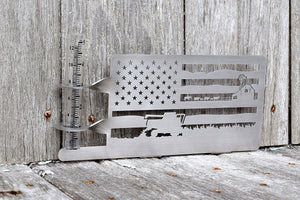 farm flag rain gauge holder made from stainless steel and features a farming scene within the stripes of the flag