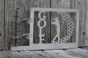 "golf rain gauge holder made from stainless steel features a golfer swings a club, the word ""golf"" and a partial golf ball"