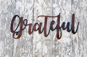 Grateful Script Metal Art