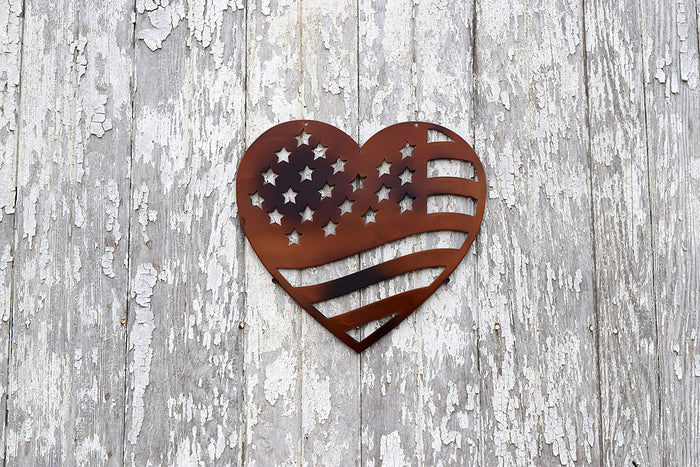 Heart Flag Metal Art