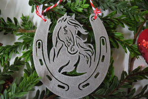 Horse Horseshoe Christmas Ornament