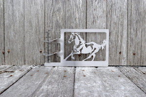 horse rain gauge holder made from stainless steel