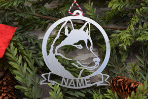 Husky Dog Name Ornament