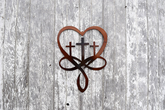 Infinity Heart Cross Metal Art