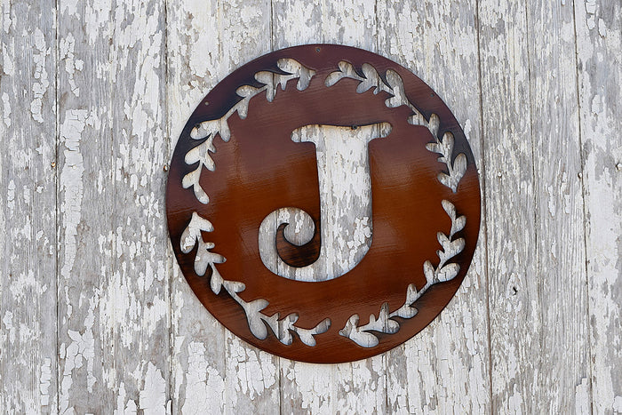Laurel Circle Monogram Metal Art