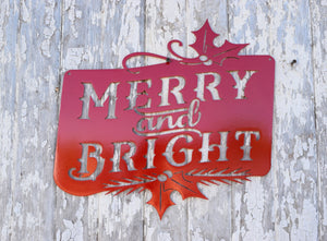 Merry Bright Holly Metal Art