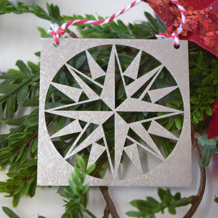 Pioneer Compass Quilt Christmas Ornament