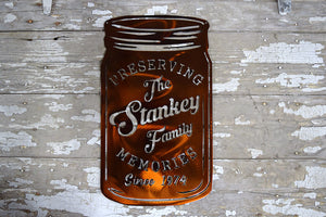 "laser cut canning jar with ""Preseserving (family name) memories since (year)"""