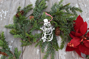 Snowman Poinsettia Christmas Ornament