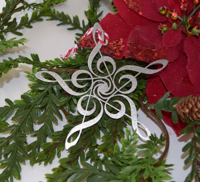 Treble Clef Snowflake Christmas Ornament