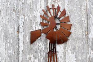 detailed windmill metal art sign
