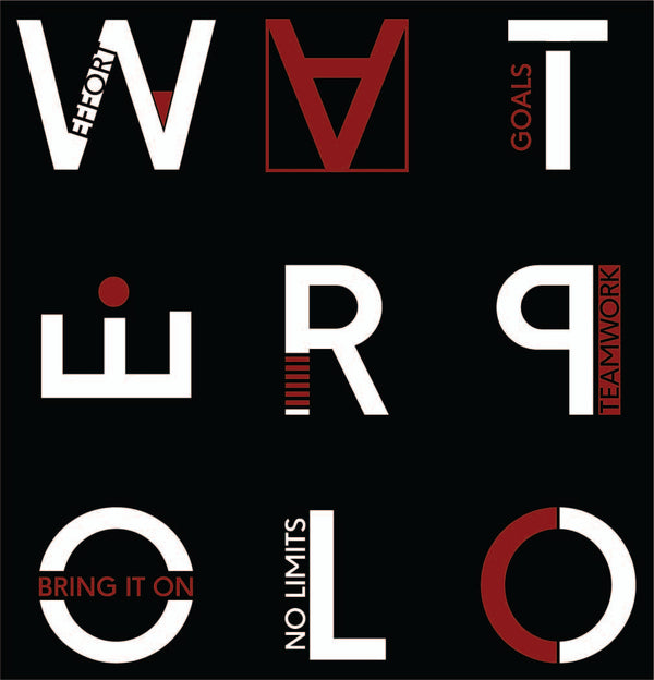W-A-T-E-R-P-O-L-O white and crimson design