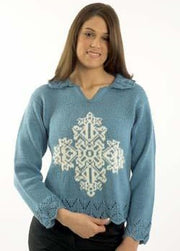 1021 Cleckheaton Country 8 Ply Snowflake & Lace Pullover Pattern