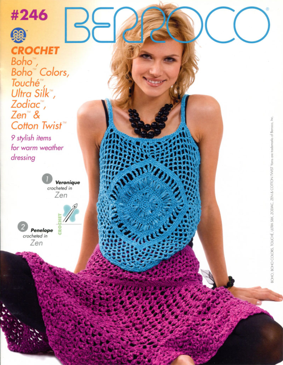 Berroco 246 Crochet Boho, Touche, Ultra Silk, Zodiac, Zen & Cotton Twist