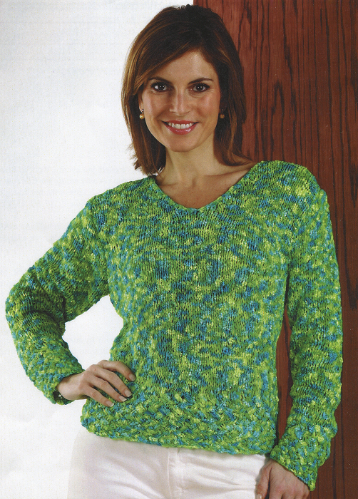 Check Print Cabled Rib Pullover #3248
