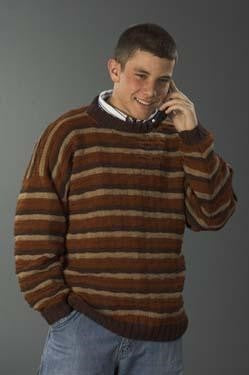 Galway Worsted 1133 Man's Striped Pullover Pattern