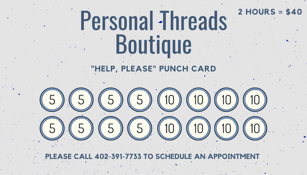"""Help, Please"" Punch Card"