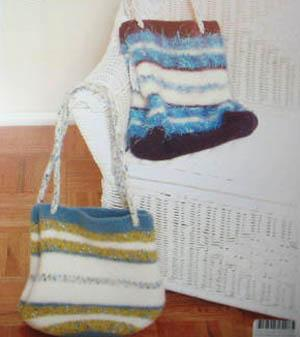 P387 Striped Felted Bucket or Gift Bag