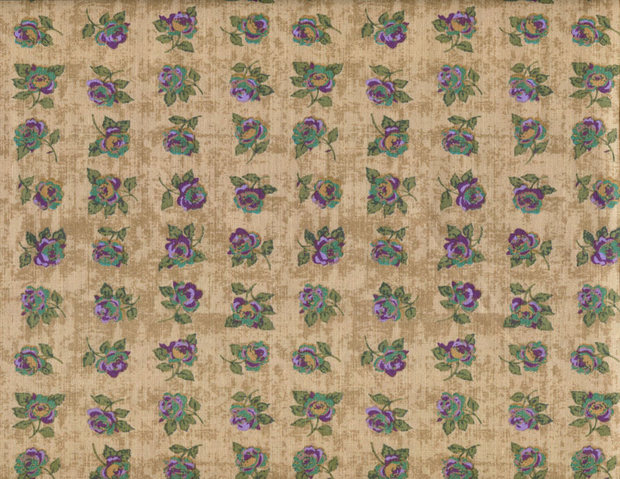 Quilting Fabric CM38 Rows of Roses Aubergine