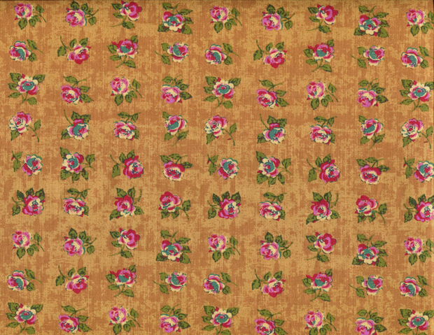Quilting Fabric CM38 Rows of Roses Pomegranate