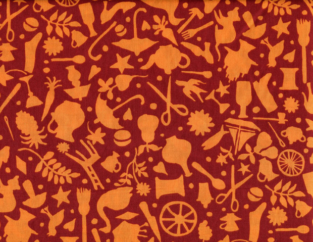 Quilting Fabric GP119 Folk Art - Rust