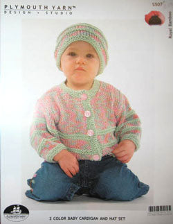 S507 2 Color Baby Cardigan and Hat Set
