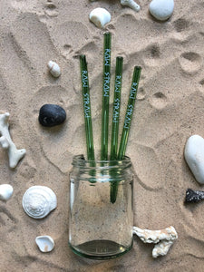 4 Green Glass Raw Straws - Raw Straw