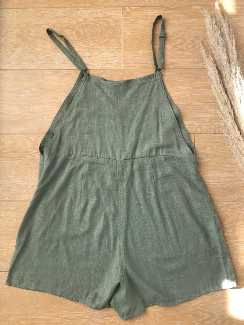 linen overalls playsuit in olive, Villa 34