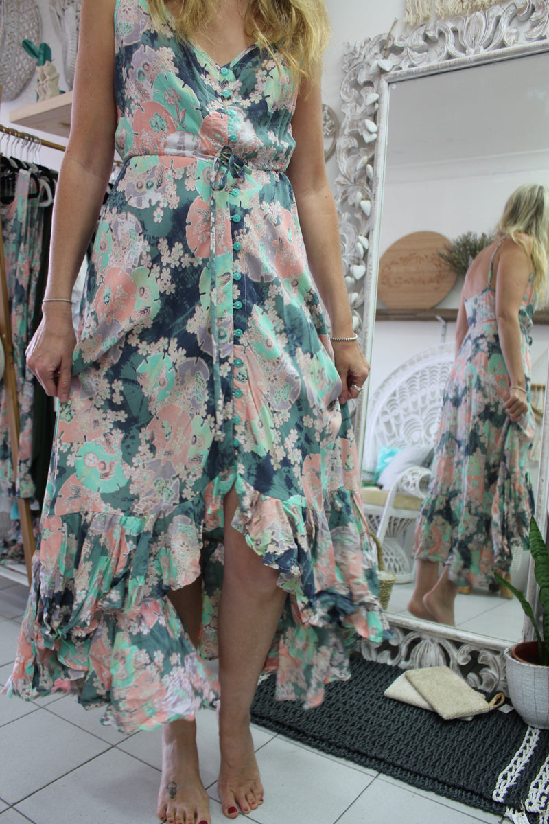 Summer strap floral dress with ruffled bottom - Villa 34