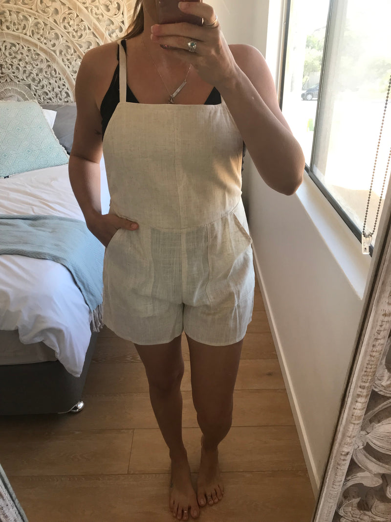 linen overalls playsuit in oatmeal, villa 34