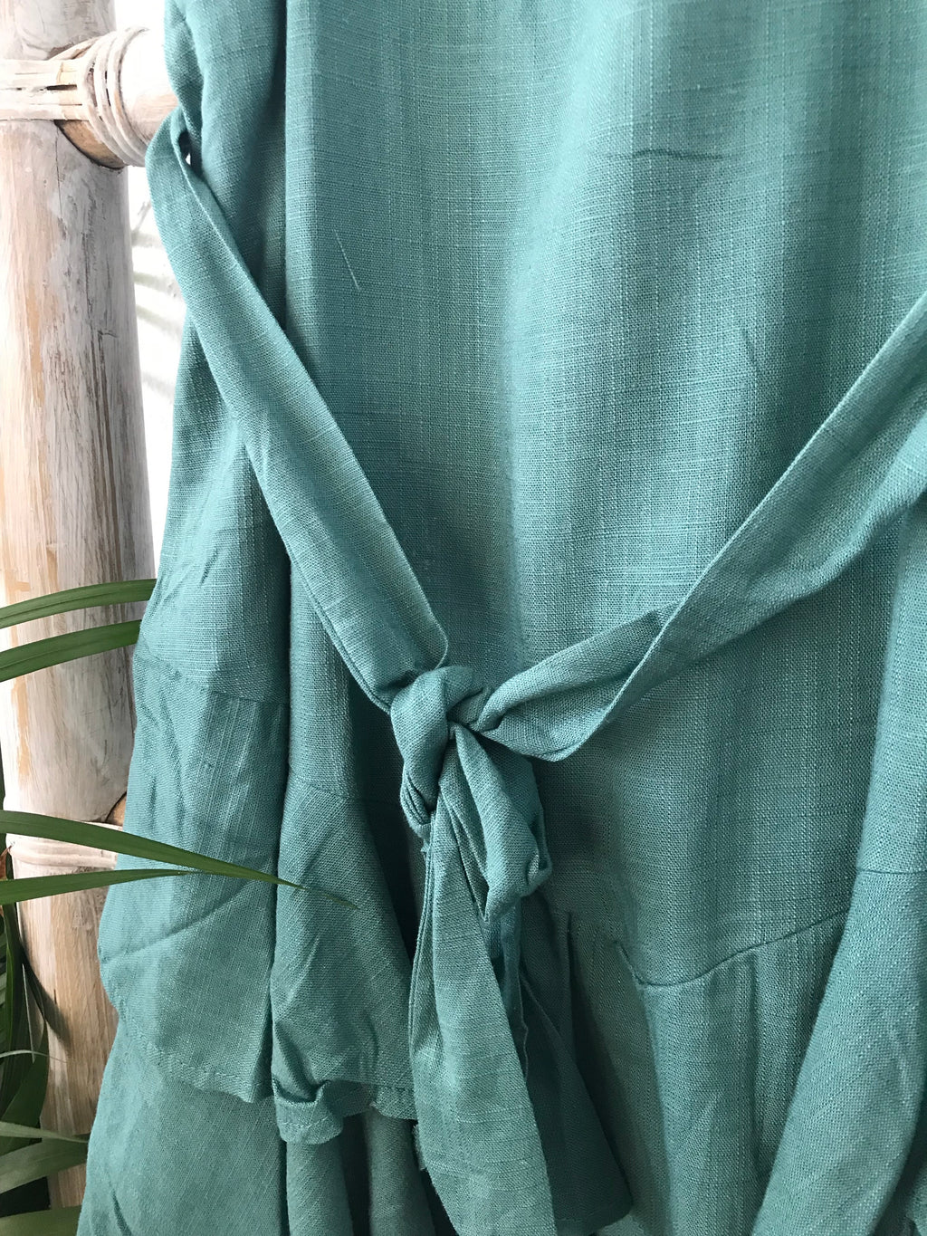 linen dress - teal ruffle