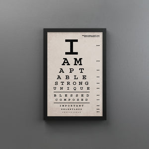 I Am Affirmations Eye Chart