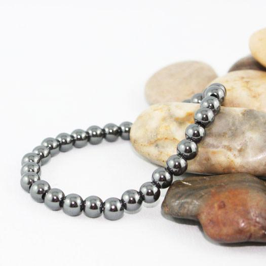 Unisex 6mm Hematite Beaded Stretch Bracelet - Gothic Grace