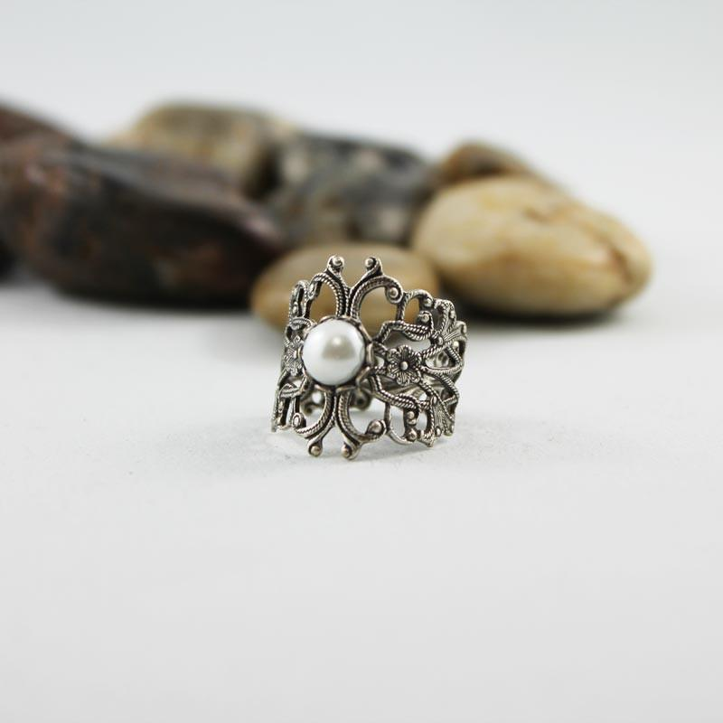 Adjustable Silver Victorian Pearl Ring - Gothic Grace