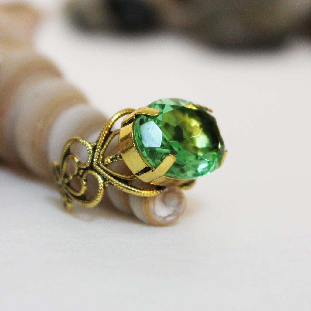 Antique Gold Filigree Green Crystal Ring - Gothic Grace