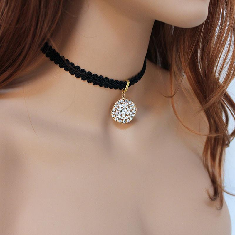 Elegant Black Long Beaded Back Drop Choker Necklace - Gothic Grace