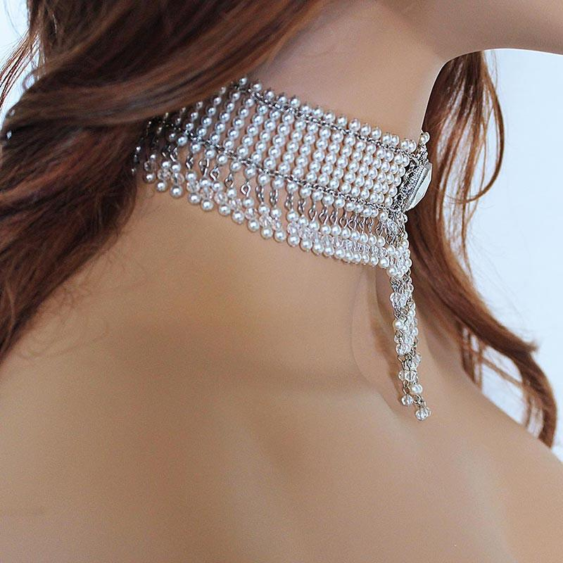 Beaded Crystal Pearl Victorian Choker Necklace - Gothic Grace