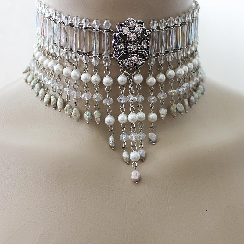 Beaded Victorian Bridal Choker - Gothic Grace