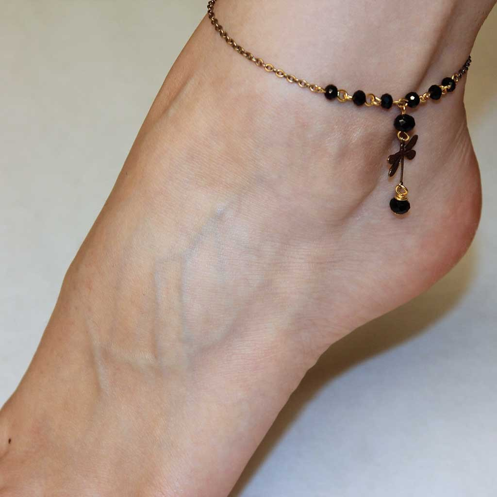 Beaded Charm Ankle Bracelet - Gothic Grace