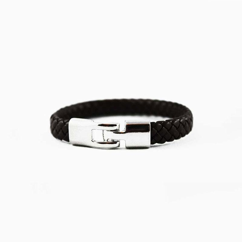 Black Braided Leather Bracelet with Silver Hook Clasp - Gothic Grace