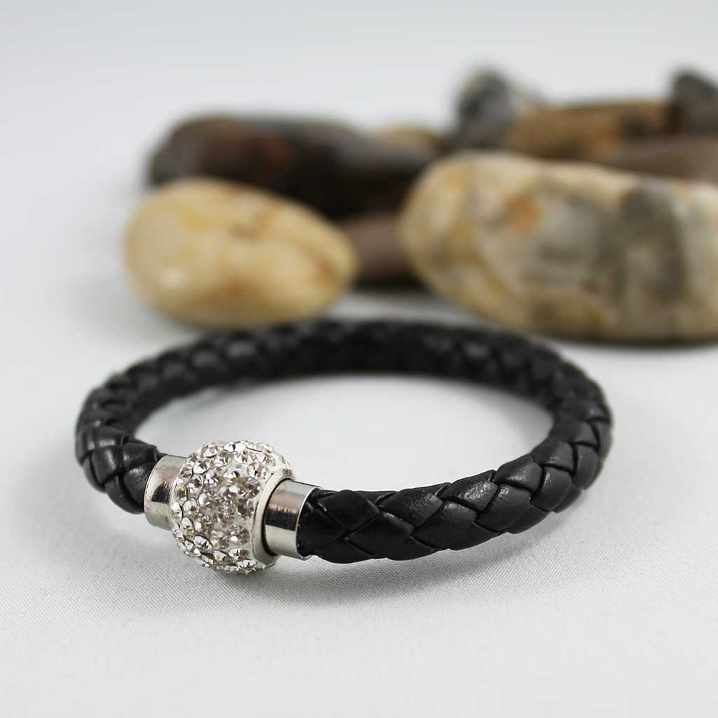 Black Braided Leather Bangle Bracelet - Gothic Grace